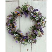 Kunst Lavendelkranz AJILA, Gypsophila, Gänseblümchen, lila, Ø30cm