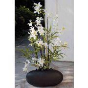 Kunst Dendrobie Orchidee AMALIE, Bambus, Keramiktopf, weiß, 70cm
