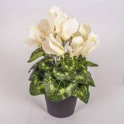 Kunstblume Alpenveilchen HEIDI im Dekotopf, creme, 25cm, Ø5-8cm