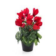 Kunstblume Alpenveilchen HEIDI im Dekotopf, rot, 25cm, Ø5-8cm