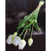 Künstlicher Tulpenstrauß LONA, weiß-grün, 45cm, Ø15cm