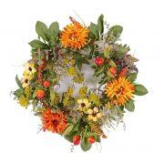 Künstlicher Herbstkranz SABINE, Gerbera, gelb-orange, Ø30cm