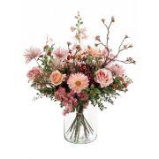 Kunstblumenstrauß FEME, rosa-grün, 65cm, Ø40cm