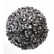 Kunstbaum Buchskugel FRITZ, Glitzer, schwarz-silber, Ø22cm